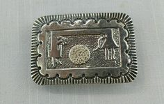 Vintage Southwest scalloped sterling silver large, big belt buckle hand stamped