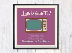 Retro Art Print Digital Art Print Lets Watch TV di LooveMyArt