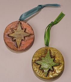 DeTiki Hand Carved STARBURST ORNAMENT Set Atomic Mid Century Fifties Reclaimed W