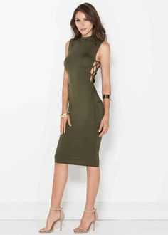 Olive dress with mock neck. Side lace up detail. Bodycon fit.   Can be paired with black or nude strappy sandals