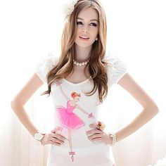 Womens summer Slim fit Round Collar Short Puff Sleeve Tshirt White