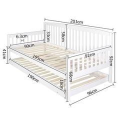 Wooden Sofa Day Bed Frame w/ Foldable Trundle White - 176567 For Sale, Buy from Single Bed Frame collection at MyDeal for best discounts. Sofa Bed Frame, Day Bed Frame, Trundle Bed Frame, Bed Frames, Diy Sofa, Diy Daybed, Sofa Daybed, Sofa Couch, Steel Furniture