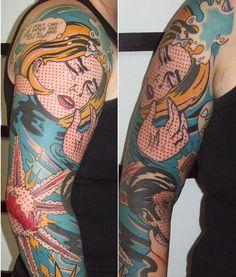 Hoje é dia das histórias em quadrinhos como forma de arte e pontos reticulados. #tattoofriday – Roy Lichtenstein