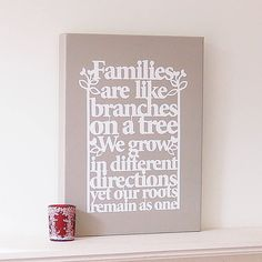 family tree canvas art by ant design gifts | notonthehighstreet.com