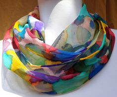 """""""Luscious hand painted 100% silk chiffon scarf in a multi color brushstroke pattern that will go with just about anything""""  The colors in this scarf are like a painting!!!  One of a kind #Silkworth  FOUND on Etsy USA Just $42"""