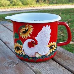 Red 6 Cup Measure Container HandPainted HEN EGGS Sunflower Rooster Art T.McMurry #CountryRoosterArt