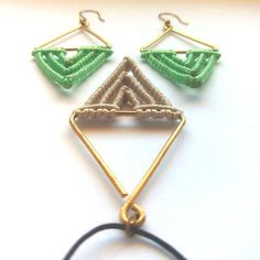 Macrame veraman earrings-brass wire Pendant by TheDancingCord