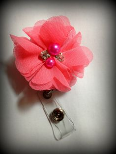 Hey, I found this really awesome Etsy listing at https://www.etsy.com/listing/203884667/neon-pink-chiffon-flower-badge-reel-id