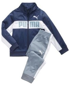 Puma Track Jacket & Pants Set, Little Boys - Blue 7 Cute Boy Outfits, Family Outfits, Kids Outfits, Korean Casual Outfits, Winter T Shirts, Puma Pants, Boys Online, Baby Suit, Boys T Shirts