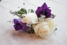 blush roses with purple lisianthus wrist corsage/   Deland Florida wedding flowers/ Volusiacountyweddingflowers/ www.callaraesfloralevents.com