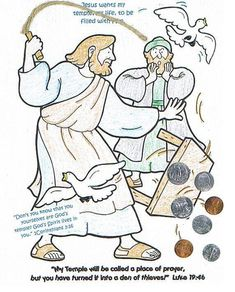 Jesus Clears The Temple Craft Coloring Page From Really Big Book Of Bible