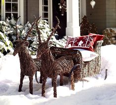 Christmas: Charming Christmas Front Porch Decorating Ideas Bringing The Holiday Feelings, Amazing Outdoor Christmas Decorations Idea showing Handmade Reindeers and Santa Sleigh Cane work