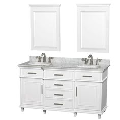Wyndham Collection Berkeley 60 in. Double Vanity in White with Marble Vanity Top in Carrara White, Oval Sink and 24 in. Mirrors
