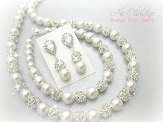 Pearl Bridal Jewelry Set // Full Jewelry Set by AliChristineBridal, $115.00
