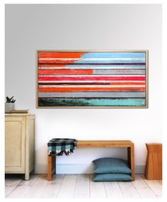 Painting, Abstract Art, Canvas Wall art, Neon Striped colors - incl frame 155, On canvas, Original Art, Landscape Art, Abstract Painting by RonaldHunter on Etsy https://www.etsy.com/listing/174474330/painting-abstract-art-canvas-wall-art