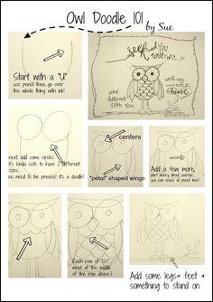 Bible Art Journaling/ Doodles 101/ Cute Owl/Sue Carroll