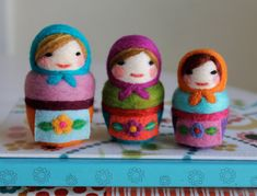 Needle Felted Matryoshka Russian Dolls Wearing Aprons, Set of 3, Handmade by Val's Art Studio