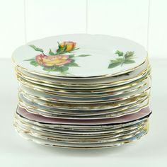 Side Plates - Vintage China www.missmouseboutique.co.nz