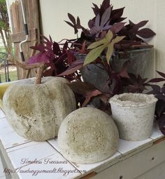 Timeless Treasures : DIY Concrete Pumpkin and Yard Art.Potting Table/Sink.Pouring Cement