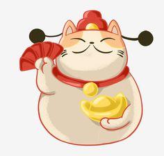 Japanese Cat, Japanese Cartoon, Neko Cat, Maneki Neko, Kitten Cartoon, Cartoon Art, Flower Art Drawing, Cat Clipart, Cat Background