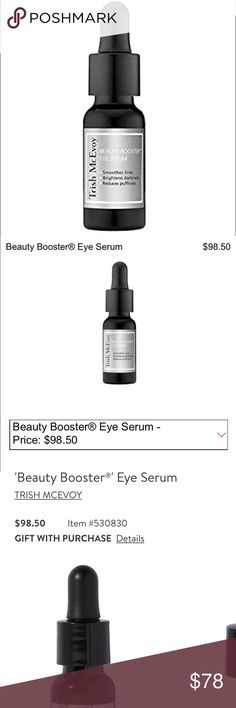 Trish McEvoy skincare Trish McEvoy's Beauty Booster® Eye Serum is a concentrated eye treatment drastically reduces the appearance of fine lines, dark circles and puffiness. This water-light serum deeply hydrates, brightens with a powerful cocktail of peptides, hyaluronic acid, vitamins and antioxidants. Really does smooth & fill lines, brightens darkness, reduces puffiness. Full size 0.50 oz. Opened, but never used. Sephora Makeup Eye Primer