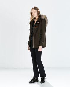 Image 1 of WOOL DUFFLE COAT WITH FUR HOOD from Zara