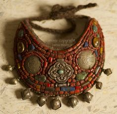 Antique Tibetan Coral choker with fabric base, yak wool fasteners, turquoise and amber | ©Jaina Mishra ~ Wovensouls