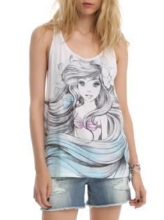 They need a Belle too.... and every oher disney princess for that matter || Disney The Little Mermaid Ariel Sketch Girls Tank Top