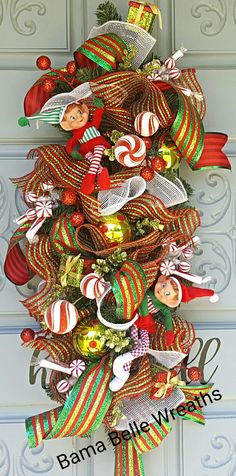Whimsical Elf Swag Deco Mesh Garland, Deco Mesh Wreaths, Christmas Swags, Christmas Decorations, Holiday Decor, Christmas Ideas, Elf, 4th Of July Wreath, Whimsical