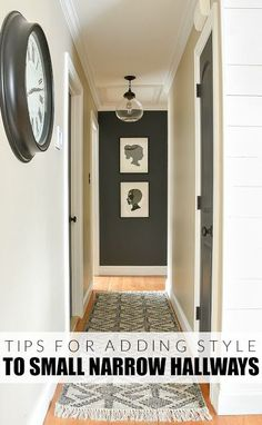 to add style to a small hallway. A narrow hallway gets a sleek modern makeover with lots of contrast and texture.How to add style to a small hallway. A narrow hallway gets a sleek modern makeover with lots of contrast and texture. Hallway Paint, Dark Hallway, Hallway Walls, Hallway Wall Decor, Modern Hallway, Upstairs Hallway, Hallway Lighting, Hallway Decorations, Hallway Ideas