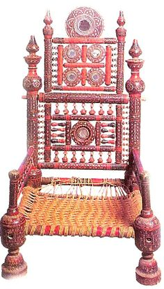 Inlaid chair , ivory , silver , lacquer , Northern India 19th c (archives sold Singkiang)