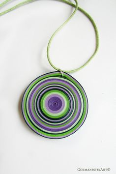 Green Purple Paper Disk Quilling Necklace Geometric Pendant | Etsy Quilling Necklace, Paper Quilling Jewelry, Paper Quilling Designs, Paper Jewelry, Paper Beads, Twin Beads, Bead Embroidery Jewelry, Geometric Necklace, Jewelry Making Beads