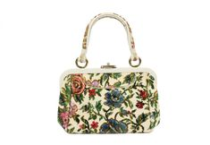 60s 70s Handbag Purse Carpet Bag Needlepoint Floral by ScarletFury, $45.00 Women's vintage fall winter fashion accessories