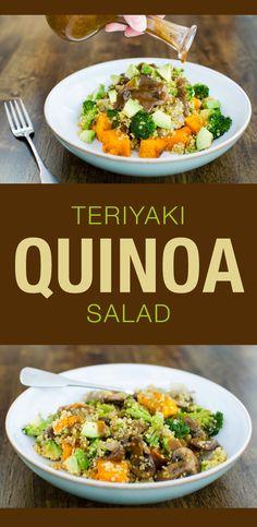 This warm teriyaki quinoa salad is a delicious vegan and gluten-free recipe!