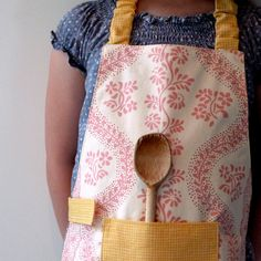 Sister Parish Pink and Yellow Montessori Apron or Child's Smock by LilaKids