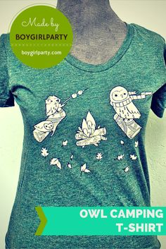 T-shirt Camping Owls - Men's and Women's sizes - made by #boygirlparty