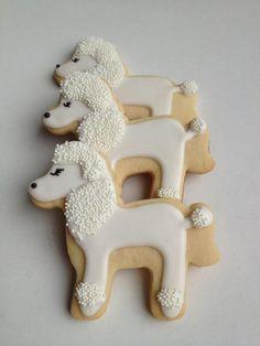 Poodle Cookies by TwoCrazyCookies on Etsy Dog Cookies, Fancy Cookies, Holiday Cookies, Cupcake Cookies, Sugar Cookies, First Birthday Cookies, 17th Birthday, Cookie Designs, Cookie Ideas
