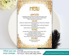 DiY Printable Wedding Menu Template   Instant Download   EDITABLE TEXT    Gatsby, Art Deco