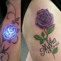 UV tattoos are tattoos made with a fluorescent or UV ink that is only visible under an under ultraviolet light (not in any kind of dark). Uv Ink Tattoos, Rose Tattoos, Hand Tattoos, Tatoos, Butterfly Tattoos, Glow Tattoo, Uv Tattoo, Dark Roses Tattoo, Dark Tattoo
