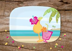 """Tropical Drinks Melamine Platter 