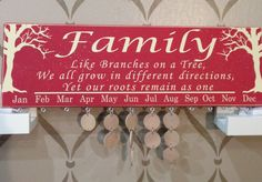 Family Birthday Board, Advent Calendar, Wooden Calendar, Like Branches on a tree we all grow in different directions yet our roots remain as by pamspaintedpretties on Etsy