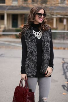 Black & Grey Faux Fur with silver statement necklace
