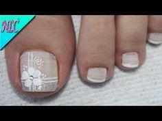 DISEÑO DE UÑAS PARA BODAS EN PIES - UÑAS PARA NOVIA - FLOWERS NAIL ART - NLC - YouTube Pedicure Designs, Pedicure Nail Art, Toe Nail Designs, Toe Nail Art, Pretty Toe Nails, Cute Toe Nails, Flower Toe Nails, Hair And Nails, My Nails