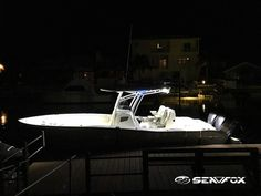 boat blue led rope lights lighting design sea fox center console all lit up white light