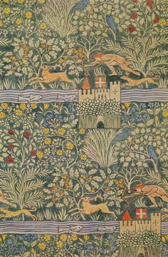 The Tulip Tree by CFA Voysey England 1919 Floral Patterns Motifs Textiles, Textile Patterns, Textile Art, Floral Patterns, Arts And Crafts Movement, William Morris, Fabric Wallpaper, Of Wallpaper, Rust Texture