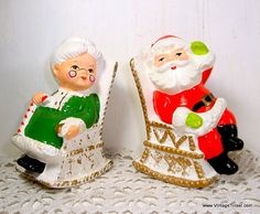 Vintage Christmas Salt and Pepper Shakers, Mr and Mrs. Santa Claus, Rocking Chairs, Kitschy Holiday Decor, Made in Japan  (721-15)
