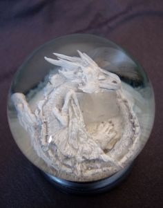 Ice Dragon, Clear Quartz Crystal, Glass Globe, Winter Wonderland, The Dreamers, Snow Globes, Sculptures, Hand Painted, Music Boxes
