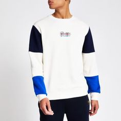 Cotton fabric Prolific chest embroidery Colour block design Crew neck Long sleeve Regular fit Our model wears a UK M and is tall Color Blocking, Colour Block, Beige Color, Collar Shirts, Hoodies, Sweatshirts, Style Guides, Cotton Fabric, Mens Fashion