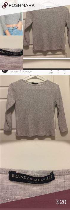 Brandy Melville Gray Ribbed Crop Top Super cute! Only worn maybe twice. Brandy Melville Tops