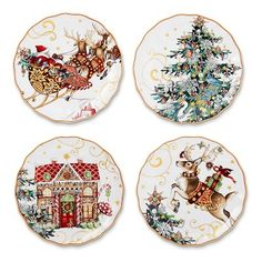 T'was The Night Before Christmas Salad Plates, Multi Set of 4 #williamssonoma